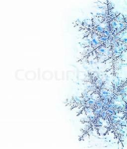 Snowflake blue decorative border, beautiful blue cold