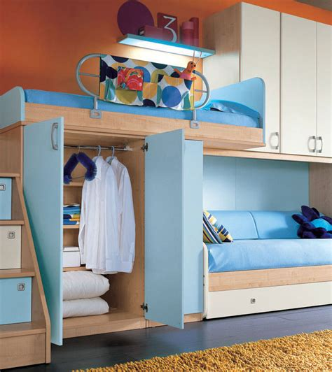 orange wall  sea blue color bunk beds furniture interior design ideas