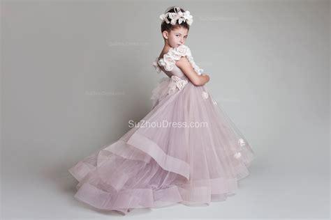 Wedding Dresses For Girls : Sweep Train Flower Girl Dresses 2017 Flowers Tiered Draped