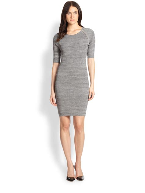 gray sweater dress fitted sweater dress in gray lyst