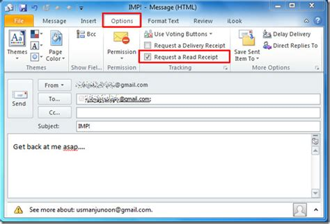 outlook 2010 read receipt email tracking