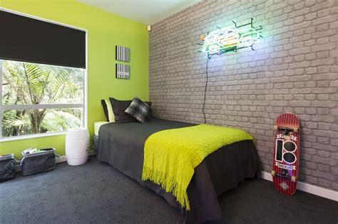 Boys Bedroom Wallpaper by The Reveal A Zingy Lime Green Wall Teamed With Cool