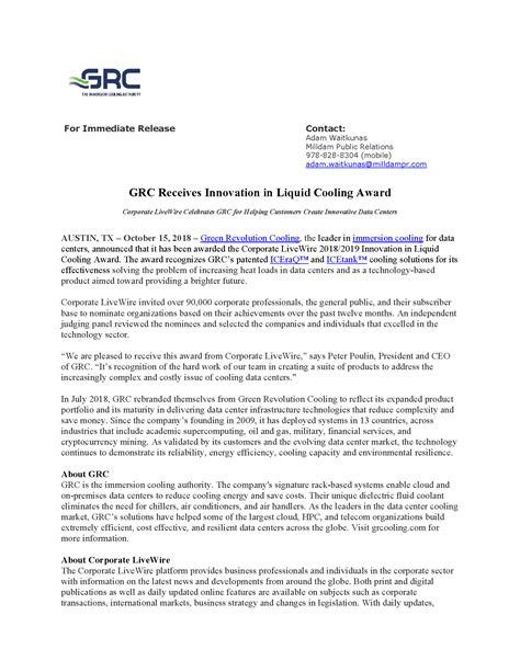 Press Releases | Green Revolution Cooling