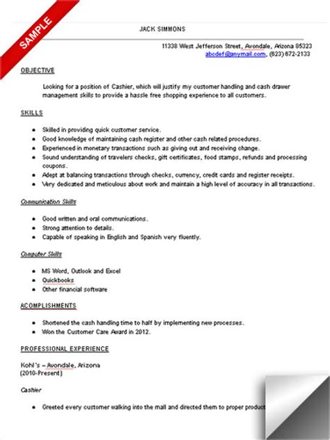 Customer Service Cashier Resume Objective by Sle Resume Cashier Customer Service