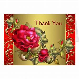 Red Roses Red Gold Thank You Cards | Zazzle