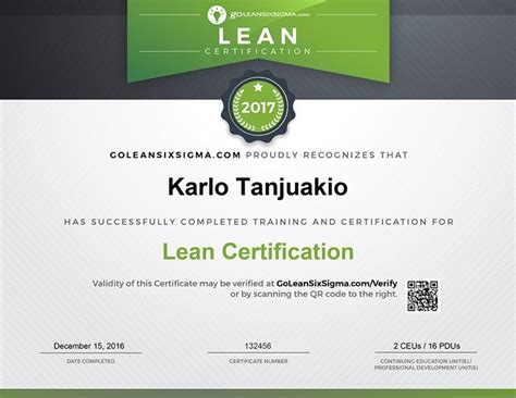 certification courses lean certification