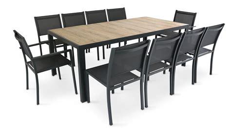 Table Salon De Jardin Table De Jardin 10 Places Aluminium Et C 233 Ramique Oviala