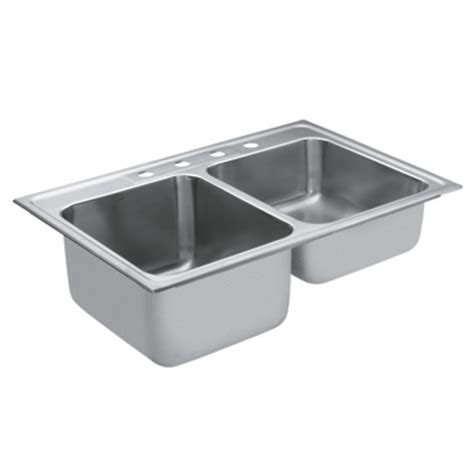 double stainless steel kitchen sink shop moen commercial 38 in x 23 8 in stainless steel