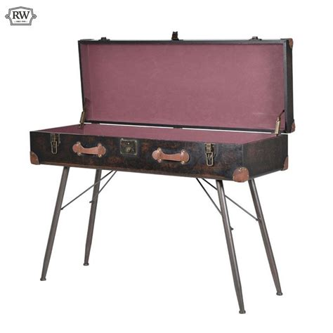 leather console table trunk faux leather console table rathwood