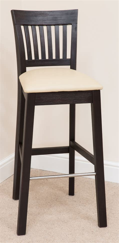 java bar stool 340 acacia wood black leather bar