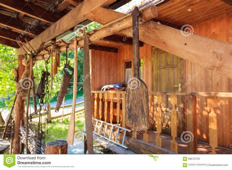 Interno Rustico Interno Rustico In Una Casa Di Legno Immagine Stock