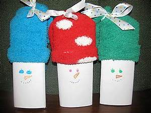 Fuzzy sock snowmen there s a Hershey s bar wrapped