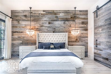 PBW: Tobacco Barn Grey Wood Wall   Master Bedroom