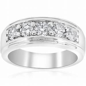 Channel Set Men39s Wedding Ring Band SIG 1 Ct Diamond 14K