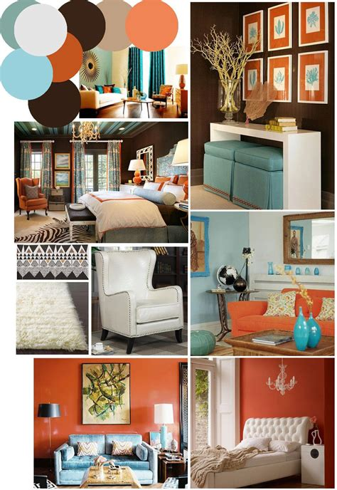 There's something just so cozy and inviting about a home decorated with warm shades of brown. color palette inspo: chocolate brown, coral and robin's ...