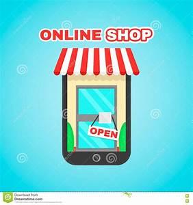 Online Outlet : mobile online shop vector flat icon illustration e ~ Pilothousefishingboats.com Haus und Dekorationen