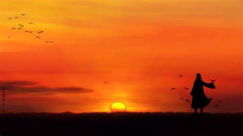 anime uchiha itachi sunset silhouette birds wallpapers