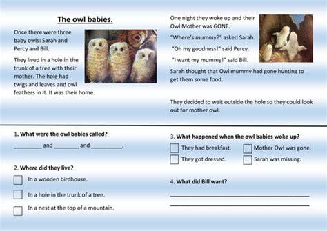 owl babies reading comprehension ks1 by miss calvert