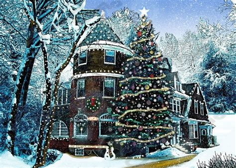 christmas houses in snow items similar to house snow decoration print pine tree