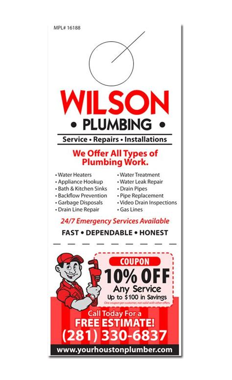 plumbing door hanger samples business marketing ideas