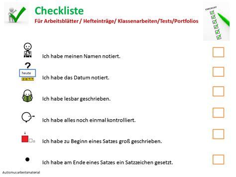autismus arbeitsmaterial checkliste fuer klassenarbeiten