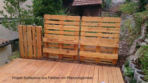 Sichtschutzzaun Aus Paletten by Sichtschutz Terrasse Paletten