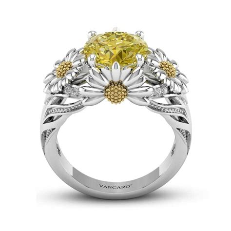 sunflower daisy flower engagement ring with yellow
