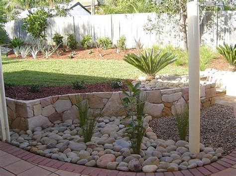 river rock garden edging home designs wallpapers