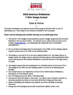 shirt design contest rules entry waiver american birkebeiner