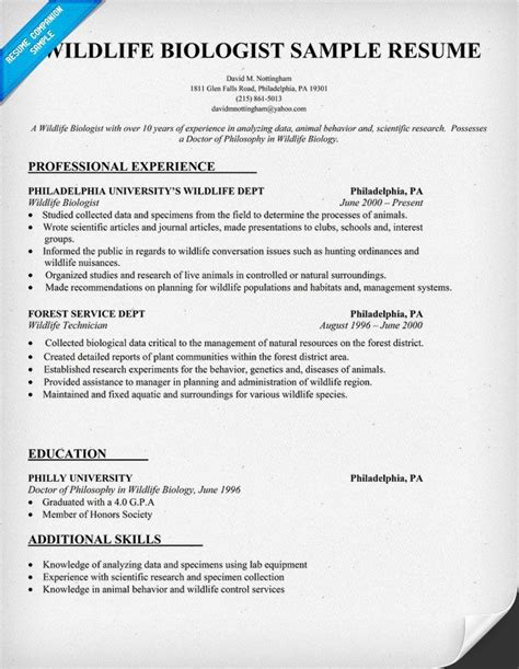 Biology Internship Resume by Pin By Resume Companion On Resume Sles Across All