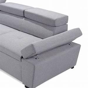 Canapé Angle 5 Places : canap d 39 angle convertible 5 places preston 255cm gris ~ Melissatoandfro.com Idées de Décoration