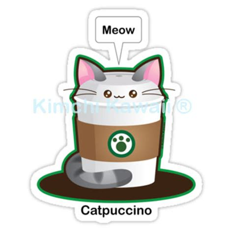 cute cat coffee pun vinyl sticker  storenvy