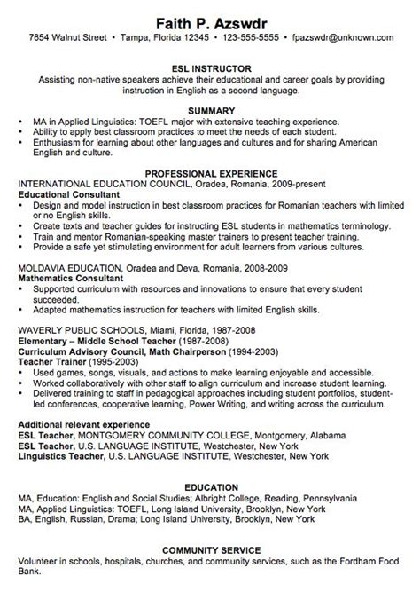 chronological resume sle esl instructor teaching