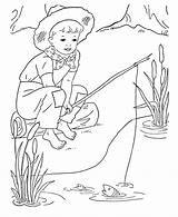 Coloring Boys Boy Fishing Printable Sheets Fish Activity Colouring Embroidery Bad Activities Pencil Stamps Bluebonkers Adult Digi Preschool Draw Young sketch template