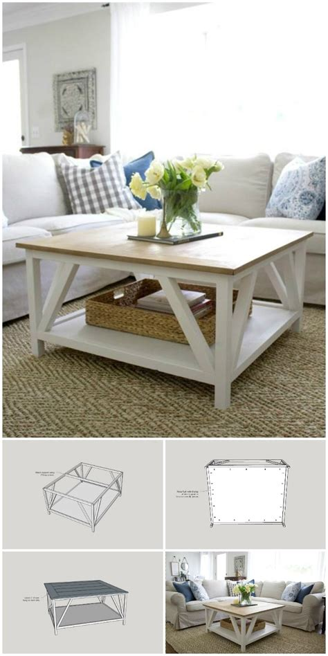 I mean lets be real, without the xs this would be an ordinary square coffee table and not a farmhouse coffee table right? 50 DIY Farmhouse Coffee Table Ideas / DIY Coffee Tables