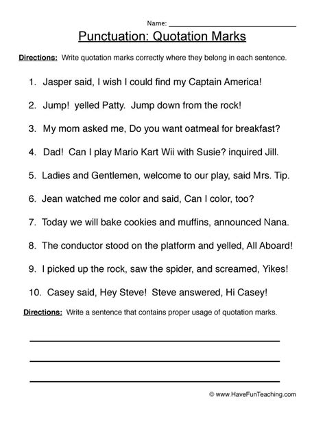 quotation marks worksheets 4th grade kidz activities