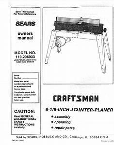 1975 Craftsman 113 206933 6 8 U0026quot  Jointer
