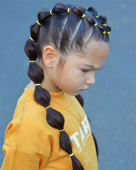 balloon ponytails yellow rubber bands braid hairstyles