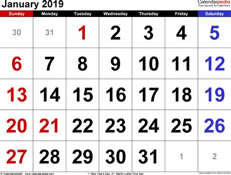 January 2019 Calendars For Word, Excel & Pdf
