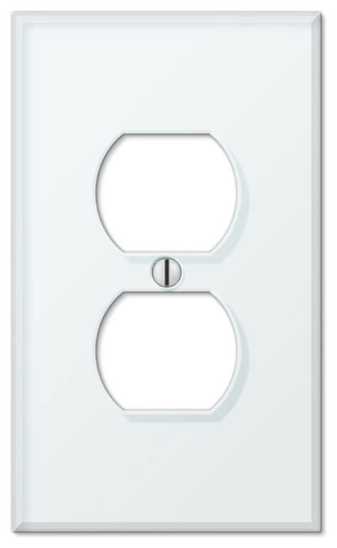 glass tile white acrylic 1 duplex wall plate contemporary switch plates and outlet covers