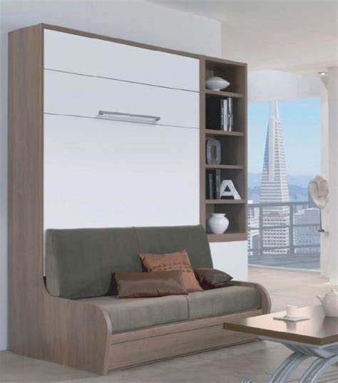 lit en hauteur avec canap armoire lit escamotable 160 14 200 cm cus de