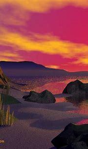 Free 3D Wallpaper 'Sunset on the Coast' 1024x768