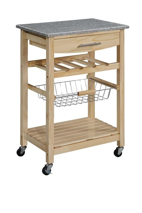 linon kitchen island cart with granite top by oj commerce