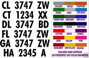 Boat hull registration numbers decals stickers 3 inch for Stick on letters and numbers for boats