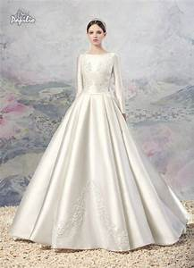 vintage lace a line wedding dresses 2016 winter fall noble With satin sleeve wedding dress