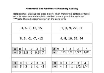 arithmetic and geometric matching activity by ms peterson tpt
