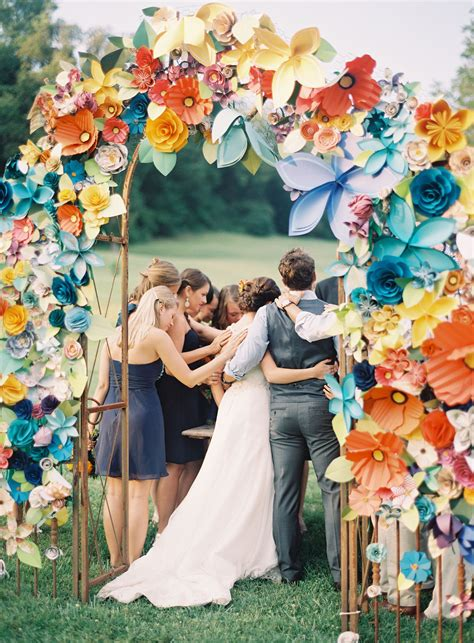 Paper Flower Arch For Wedding Ceremony Diy Our Wedding