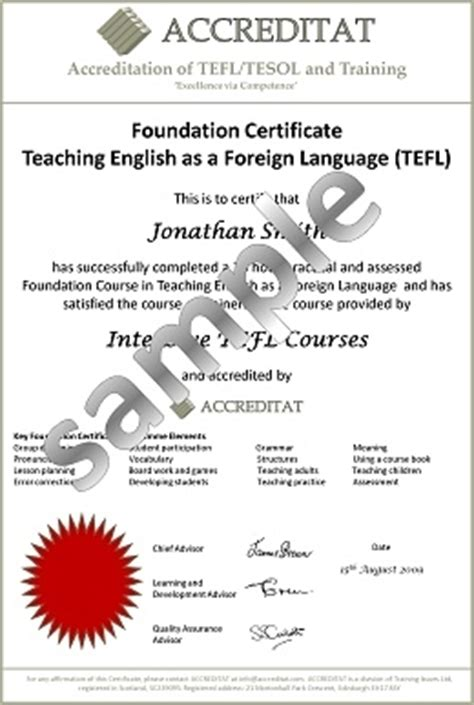 Tefl Certificate Template by Sle Certificates Tefl Tesol Students Accreditat