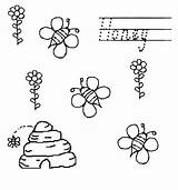 Coloring Honey Beehive Bees Flower Netart sketch template