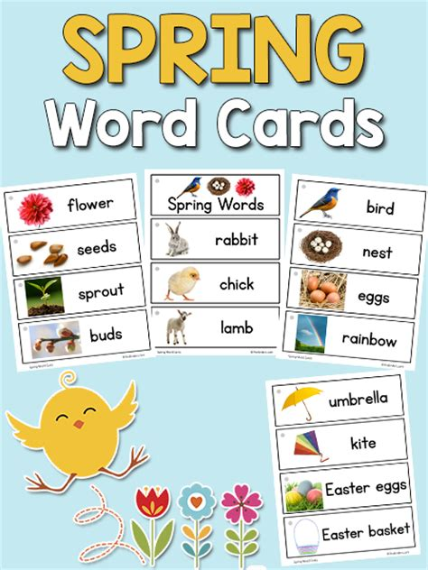 spring picture word cards prekinders
